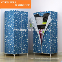Portable KD non woven fabric metal wardrobe
